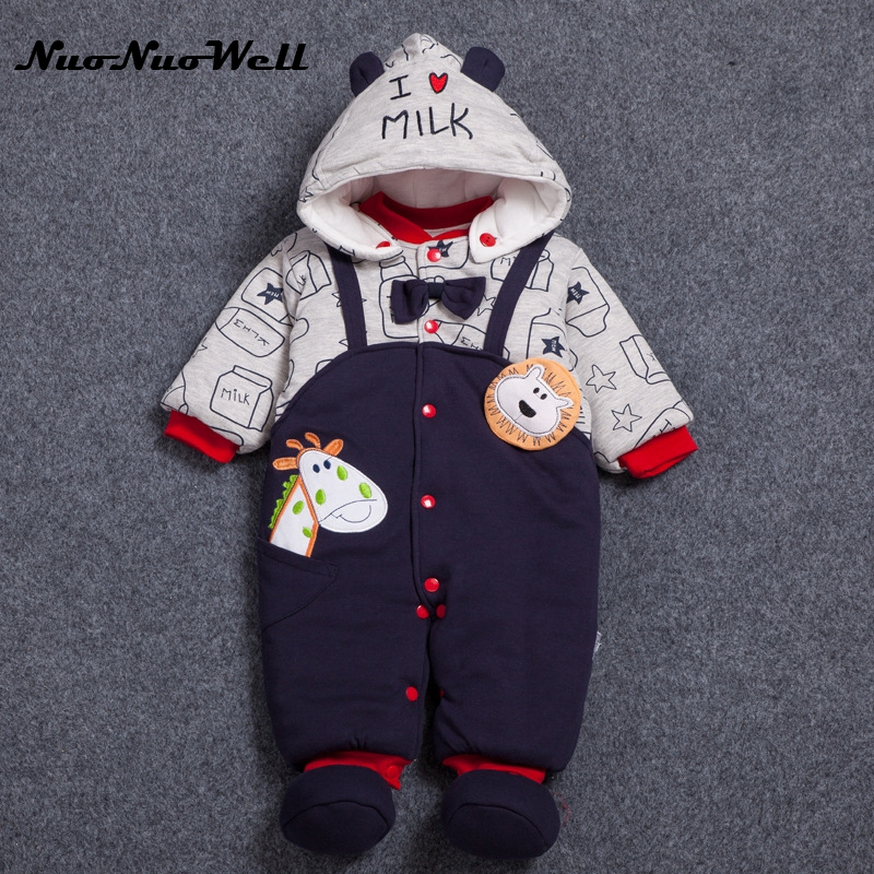 NNW 3pcs Infant Boys Girls Outwear Winter Thick Cute Hooded Baby Rompers Baby Jumpsuit Boys Clothes Outfits Newborn Clothing 2017 infant romper baby boys cute panda rompers girls jumpsuit new born bebe clothing hooded toddler baby clothes baby costumes