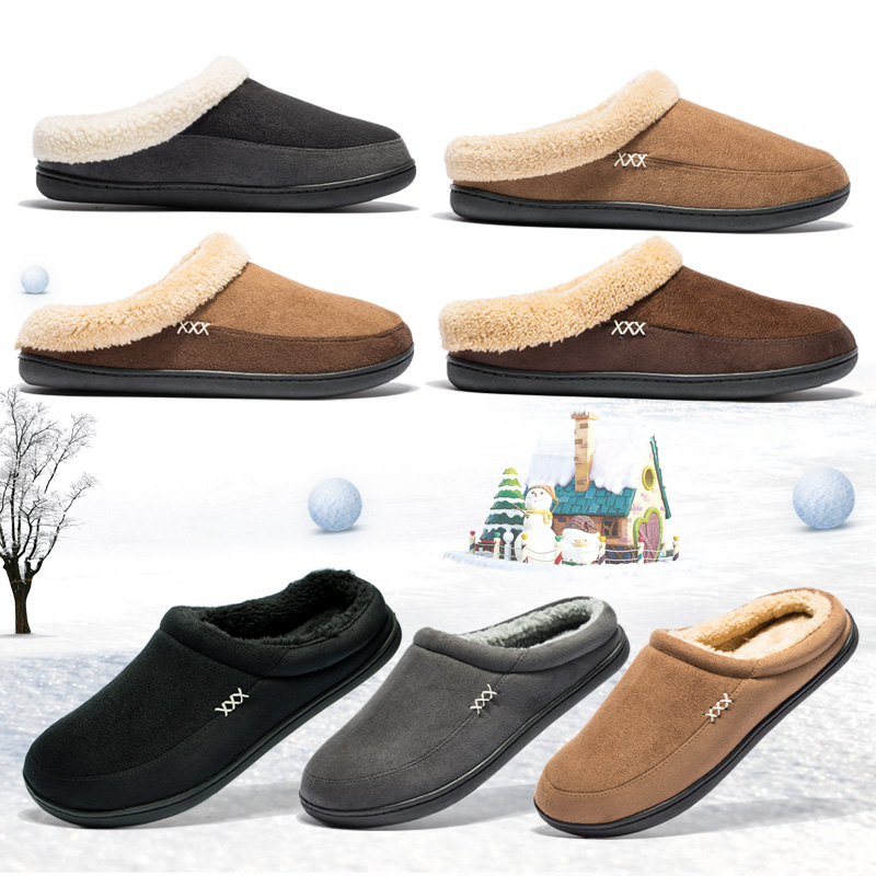Brand Home Cotton Slippers Men Winter Bathroom Plush Slipppers Warm Australia Style Male House Indoor Man Solid Adult Pantufa