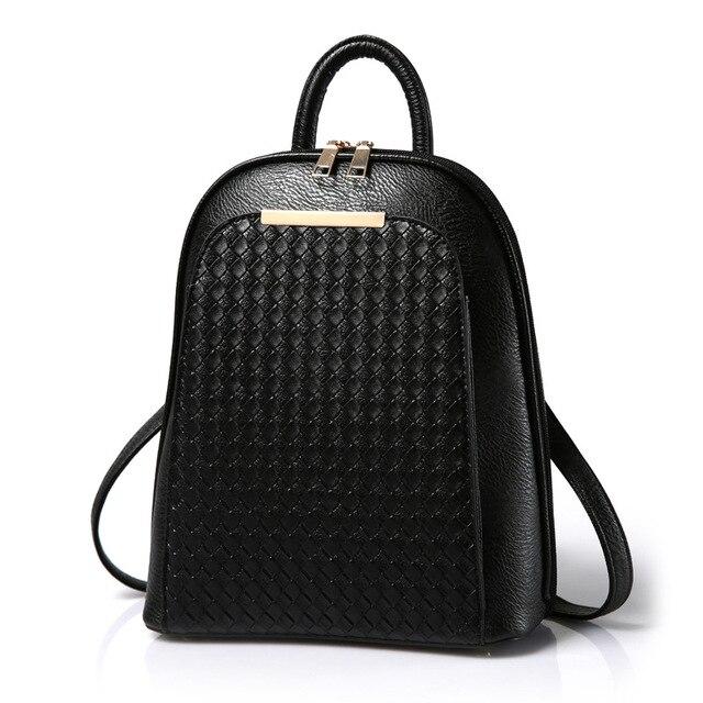 a4569ee06297 2017 New Pu Braided Shoulder Backpack Bags Dual-purpose women s school bag  Lady Simple Korean Tide