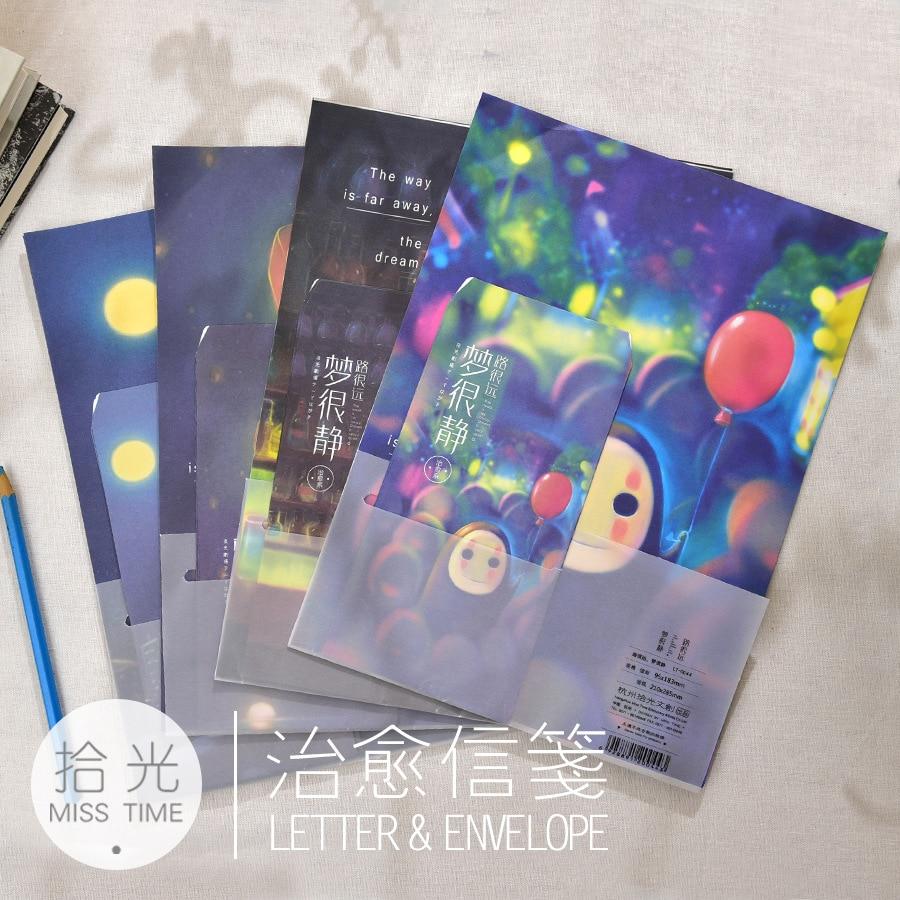 9pcs/Lot  3 Envelops + 6 Writting Paper The Road Is Far Away,dream Is Very Quiet  Luminous Envelope Letter Paper School Supplies