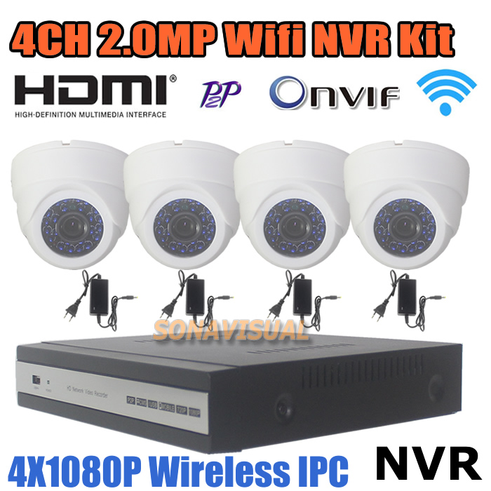 CCTV Camera security system HD 1080P Wireless indoor night vision Wifi P2P Dome Camera 4ch Onvif remote view NVR 2.0MP CCTV Kit