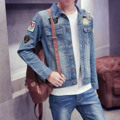Cowboy Blue Metrosexual Korean Style Slim Type Long Sleeved Young Leisure Time Vintage Denim Jacket