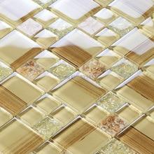 Neu! Beige Farbe Kristallglas Gemischt Muschel Mosaik Für Küche Backsplash  Fliesen Badezimmer Dusche Flur Wand Mosaik