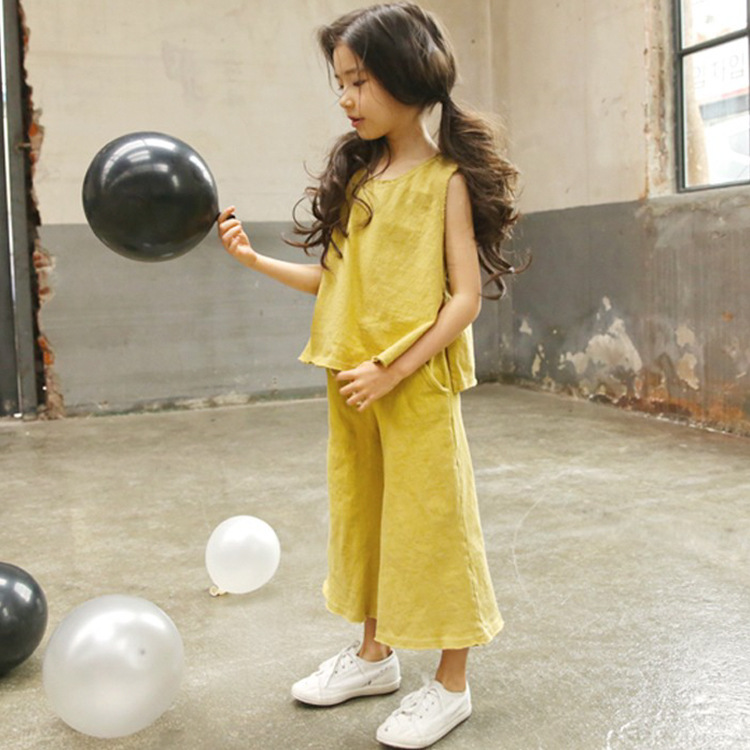 Hey-Pitch Summer New Childrens Clothing Cotton Wide Leg Pants + T Shirt Jacket Sports Suit Sets Girls Clothing Sets