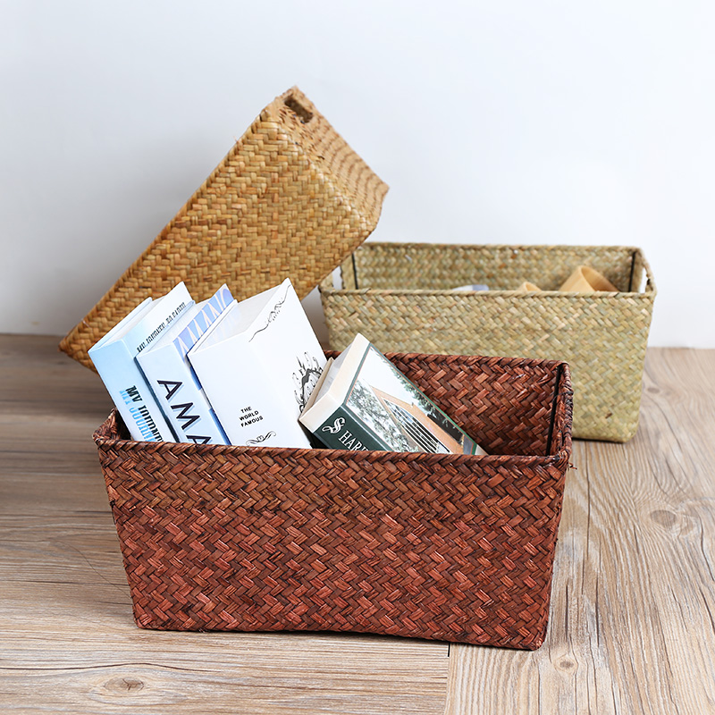 How To Weave A Basket Out Of Cattails : Natural environment pure hand woven cattail storage basket