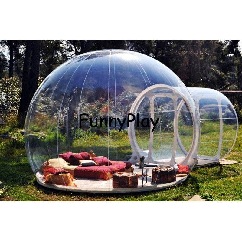 Unique tunnel gonflable bulle camping tente, gonflable clair plage randonnée tentes avec vestibule, grand gonflable tentes igloo