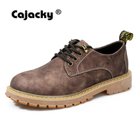 Cajacky pattini di lavoro di modo degli uomini di inverno di autunno martin stivali classici stivali genuino scarpe di sicurezza in pelle marrone grigio stivaletti big toe