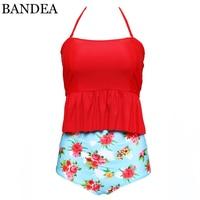 BANDEA Bikini Set 2017 Women High Waist Swimsuit Vintage Stripe Biquini White Dot Swimwear Plus Size