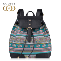 Coofit Design Retro Elephant Printed Backpack For Women Lady Girls Casual Drawstring Canvas School Bagpack With