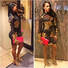 CWLSP Sexy Black Mesh Perspective Dress Womens Spring Long Sleeve Sequined Bodycon Mini Dress 2017 Club Dress Vestiods QZ1955