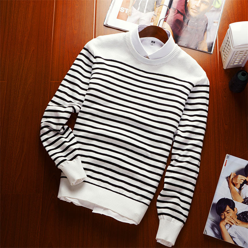 MuLS 2019 Spring Knit Sweater Men Pullover Striped Sweater Jumpers Autumn Male Cotton knitwear Youth Blue Black Grey Size M-3XL 7