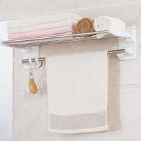 Shuang Qing Home Reside Powerful suction cup stainless steel towel rail traceless easy to install towel racks 1905