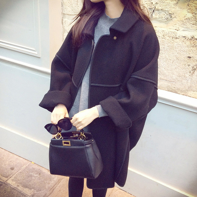 2016 Spring Winter  Design British Style Women Woolen Cloak Coat Cape Jacket Lady Bat Sleeve big yards Outwear coats
