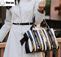 Bolsas Femininas Designer Brand Women Sigle Shoulder High Grade PU Leather Striped Panelled Pattern Bags Vintage Tote Handbags