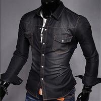 Spring Autumn Wear Men Jeans Shirt Denim Jeans Wash Blue Long-Sleeve Shirt High Quality 3 colors size M - XXL