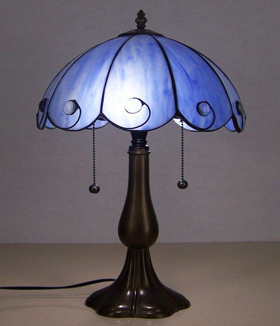 Blau Reis Weiss Tiffany Farbe Glas Tischlampe Schlafzimmer Studie Schreibtischlampe Beleuchtung Lampe Nachtlicht