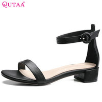 QUTAA 2017 Women Pumps Square Low Heel Genuine Leather Black Ankle Strap Elegant Ladies Wedding Shoes Size 34 39