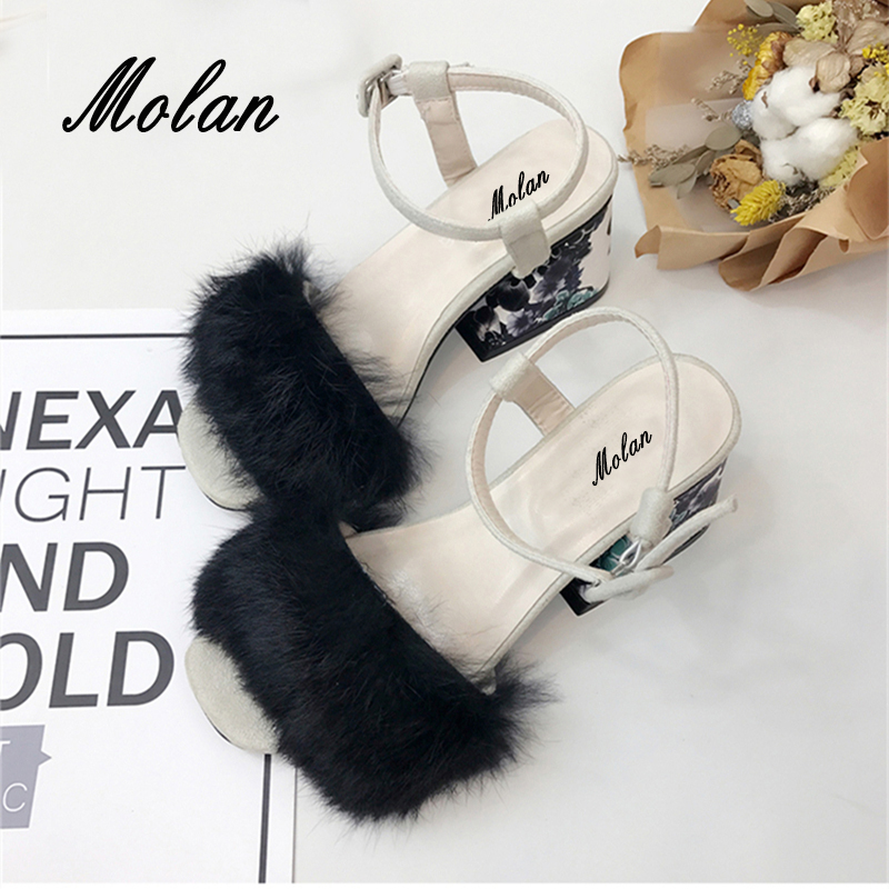 2018 New Arrival Sexy Print Flower Square High Heels Fur Sandals Woman Soft Rabbit Hair Lady Shoes Ankle Strap Pumps For Party new arrival black brown leather summer ankle strappy women sandals t strap high thin heels sexy party platfrom shoes woman