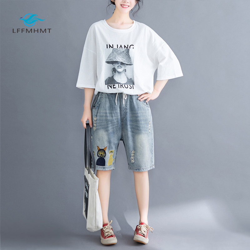 Women Summer Fashion Brand Korea Style Vintage Cat Embroidery Hole Denim Shorts Jeans Female Casual Loose Thin Shorts Cloth