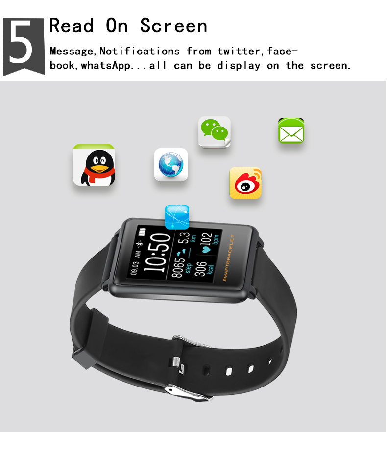Smartch Z8 Smart Bracelet Pedometer Heart Rate Watches Blood Pressure Fitness Tracker Smartband PK for mi band 2 PK for Fitbits