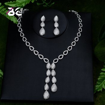 Be 8 Exquisite Cubic Zirconia Wedding Party Jewelry Set Water Drop High Quality CZ Bridal Necklace Earring Dubai Jewelry S398