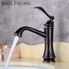 BAOLINLONG Black Drawing Antique Brass Basin Faucets Bathroom Deck Mount Vanity Vessel Sinks Bath Mixer Faucet Tap
