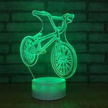 New Bicycle Night Light Usb Power Supply Color Remote Control 3d Visual Lamp Creative Gift Customization 3d Light Fixtures