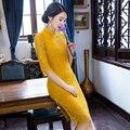 2017 New Half sleeve Lace Cheongsam Women slim Elegant Qipao Dress plus size ZA712