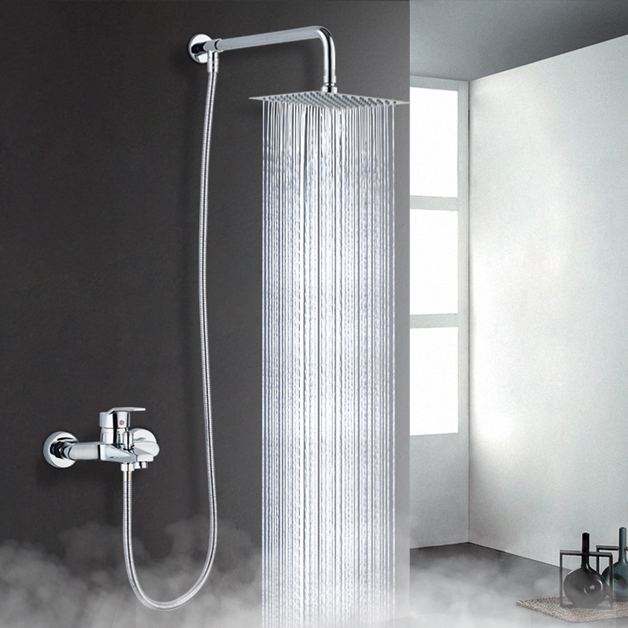 6'' 8''Inch Round Square Ultra Slim Large Rainfall Shower Head Stainless Steel Panel Big Water Current Bathroom Top Spray Shower