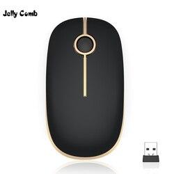 Желе расческа 2,4G USB Беспроводная мышь для ноутбука ультра тонкая Бесшумная мышь для компьютера ПК ноутбук офисная школьная оптическая Бесш...