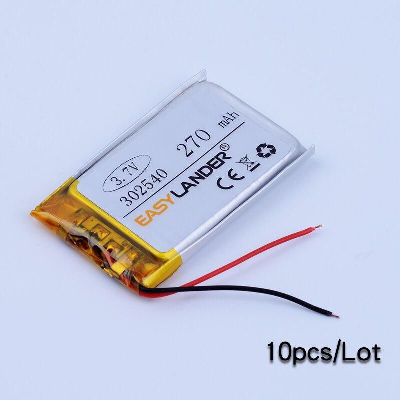 302540 10 шт./лот 3.7 В 270 мАч Литий-Полимерный Литий-Ионный Аккумулятор Для bluetooth гарнитуры Браслет Наручные Часы pen DVR GPS PSP MP3 MP4 032540