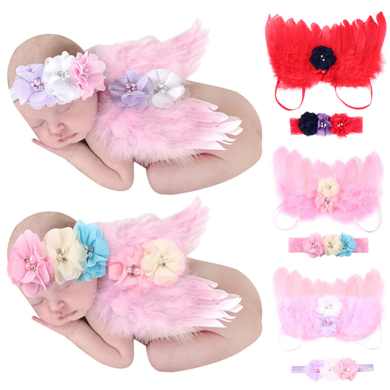 0-6M Baby Girls Angel Wings Wing Set Feather Newborn Photography Props Headband Feather Wings Baby Girl Flower Lace Hairband angel m