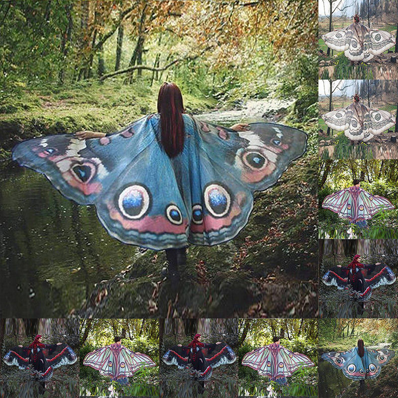 Design Women's Ladies Nymph Costume Butterfly wings shawl Long Butterfly Wing Cape Soft   Scarf     Scarves     Wrap   Shawl