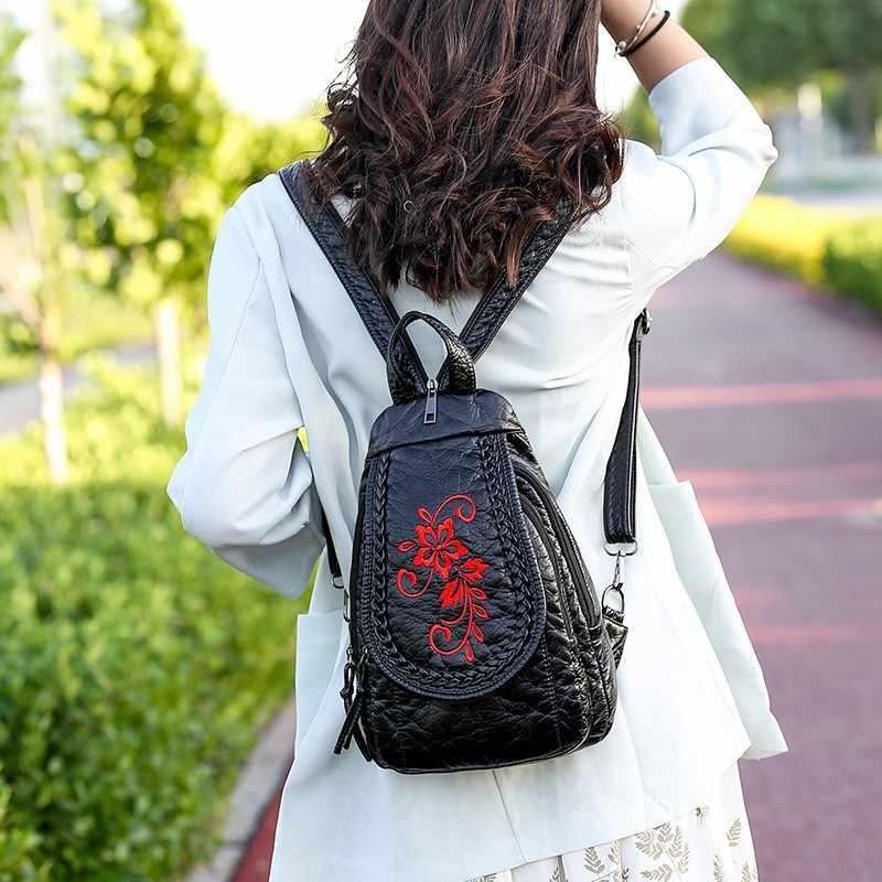 2019 женские кожаные рюкзаки для девочек Mochila рюкзак для девочек маленькая Дорожная сумка на плечо женская мягкая кожаная сумка