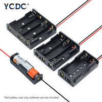 Caja de almacenamiento de batería con múltiples propósitos DIY AA Cables de batería con 1X 2X 3X 4X soporte LR6 contenedor + Cables de plomo