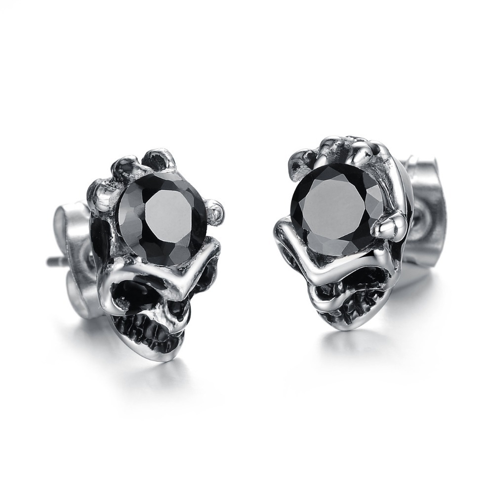 Whole Price New Arrvial Hot S Fashion Jewelry Cool Men Accessories Skull Stainless Steel Trend Stud Earrings Ge277h In From