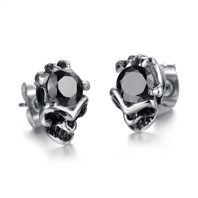 Whole Price New Arrvial Hot S Fashion Jewelry Cool Men Accessories Skull Stainless Steel Trend Stud
