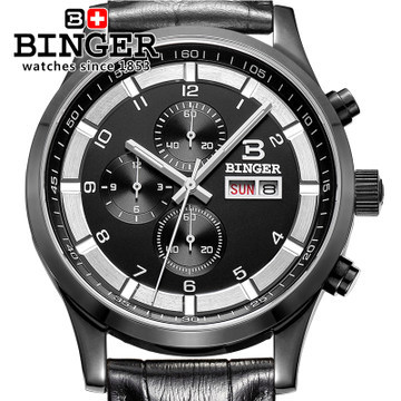 100 Original Designer New Sports Chronograph Watch Men Army Black Steel Leather Binger Quartz Movt Wrist