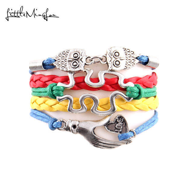 Little Minglou Hope Autism Awareness Bracelet Owl Jigsaw Puzzle Piece Love Hand Charm Men Bracelets