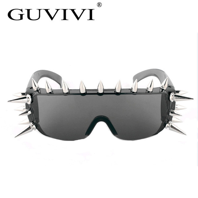 GUVIVI Clavo Steampunk gafas de Sol de Las Mujeres Gafas Hombres Lente Lado Unisex Vintage Retro Estilo Punk Gafas de Sol GY-8079