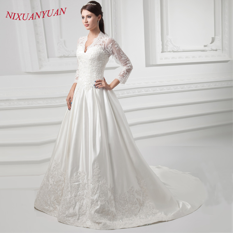 Vintage Three Quarter Length Wedding Dresses: NIXUANYUAN Elegant V Neck Appliques Beaded Bride Wedding
