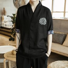 Traditional chinese clothing for men male Chinese mandarin collar shirt blouse wushu kung fu outfit tops linen shirt TA063(China)