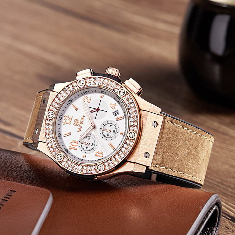 Megir Top Luxury Brand Ladies Watch Women Leather Silicone Strap Rhinestone Crystal Diamond Quartz Watch Clock Relogio Feminino цена