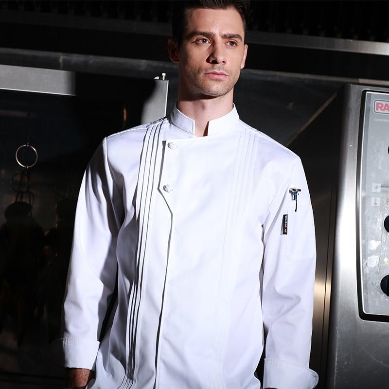 Hochwertige Winterrestaurant Küchenuniform dicke waschbare Kochuniform Langarm weiße Kochjacke