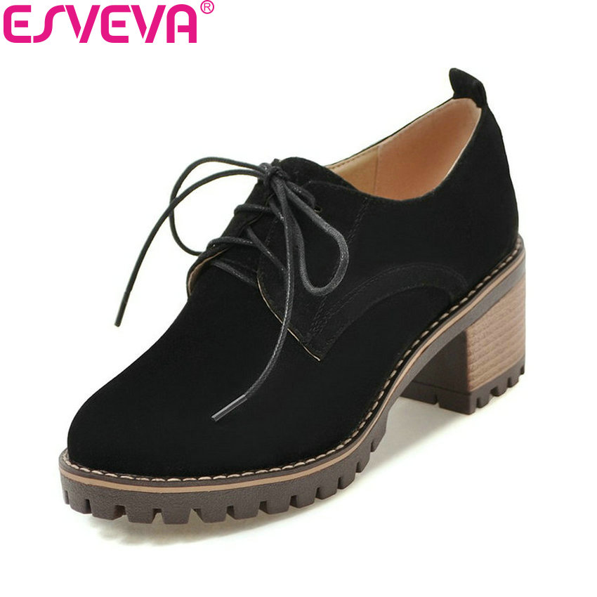 ESVEVA 2018 Women Pumps Leather PU Lace Up Spring Autumn Square High Heels Round Toe Western Style Shoes for Women Size 34-43 xiaying smile woman pumps shoes women spring autumn wedges heels british style classics round toe lace up thick sole women shoes