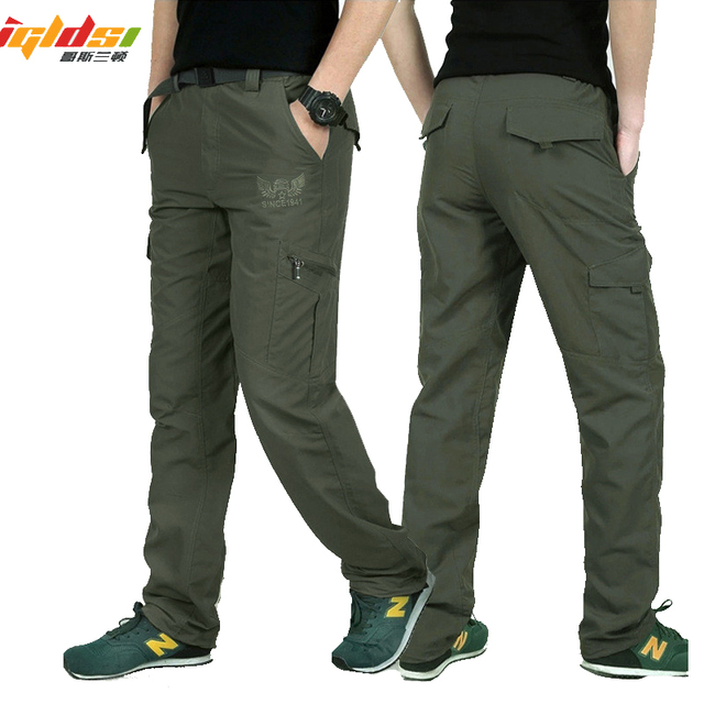 Men's Military Style Cargo Pants Men Summer Waterproof Breathable Male Trousers