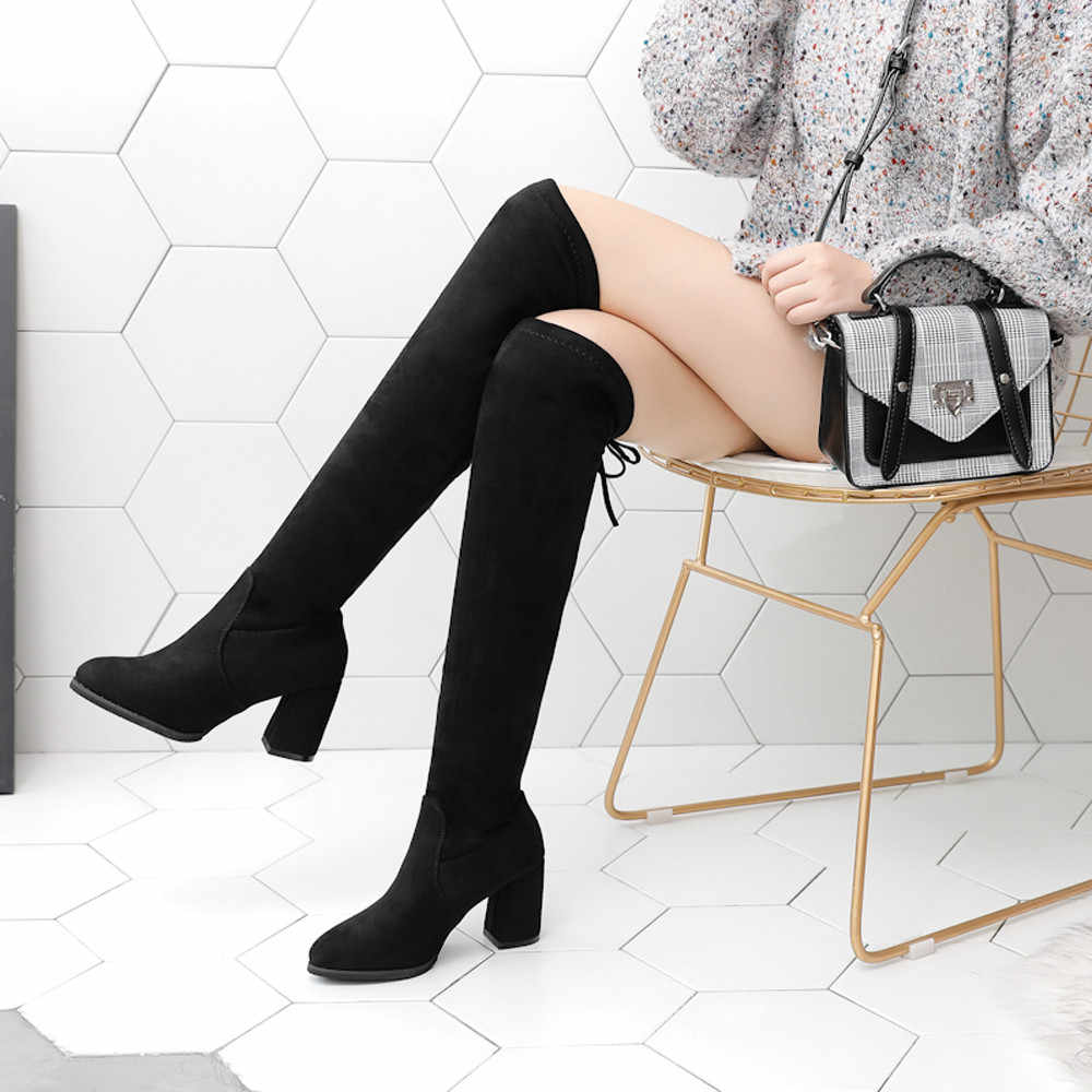 Sexy High Heels Boots Women Fashion Round Toe elastic Over The Knee Boots Lace-Up Shoes Woman Winter Boots chaussures femme
