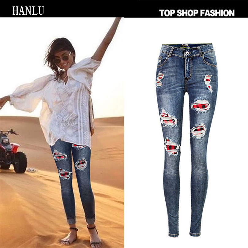 HANLU Hot Sexy Women Fashion Skinny Wash Denim Jeans New Style Ripped Plaid Patchwork Butt Lifting Bodycon Denim Long Pants