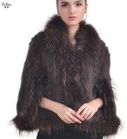 ZiZhen модный натуральный норковый меховой плащ пончо для женщин короткий дизайнерский плащ пальто с натуральным мехом енота собаки воротник