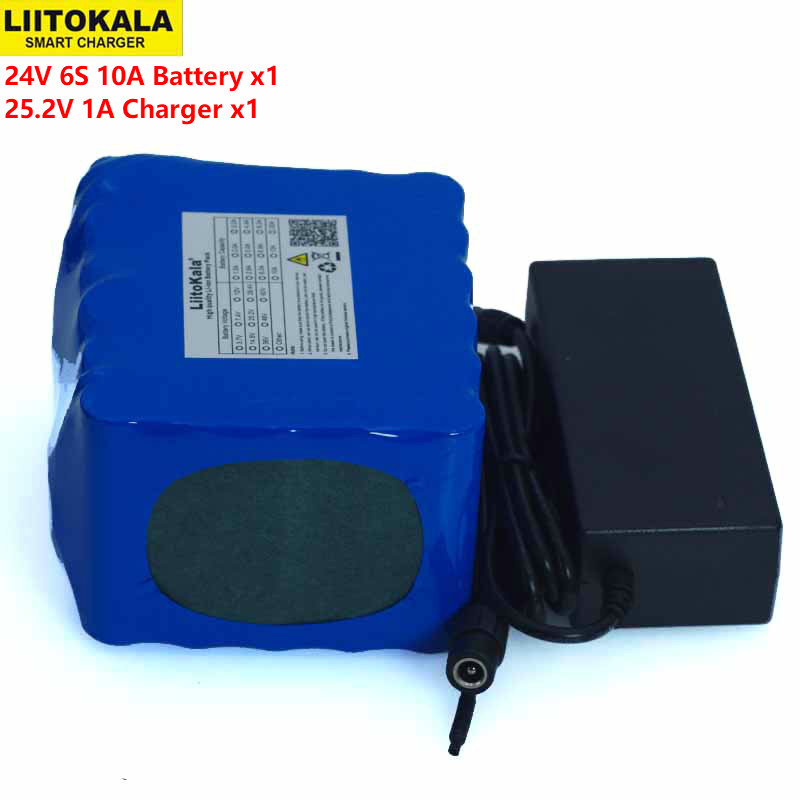 LiitoKal 24V 10Ah 6S5P 18650 Battery Lithium Battery 24V Electric Bicycle Moped Electric Li-ion Battery Pack+25.2V 2A Charger